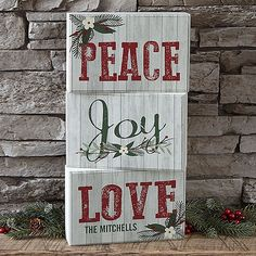 Bed Bath & Beyond Peace, Joy, Love Personalized Rectangle Shelf Blocks (Set of - ShopStyle Christmas Blocks, Christmas Quotes, Rustic Christmas, Christmas Projects, Christmas Crafts, Christmas Ornaments, Christmas Ideas, Merry Christmas, Xmas
