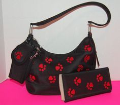 NWOT Rosa Paw Print Purse Wallet Cell Phone Holder Red Black GA Bulldogs #Rosa #ShoulderBag