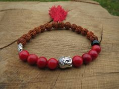 RUDRAKSHA Bracelet Red Coral Tassel Bracelet by BohemianChicbead