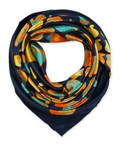 "Corciova®  35"" Silk-like Big Square Scarf (Shell navy background)"