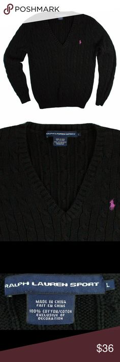 """RALPH LAUREN Black Cable knit V-Neck Sweater Excellent condition! This black cotton cable knit sweater from Ralph Lauren features a b-neckline and pink polo logo at the bust. Made of 100% cotton. Measures: bust: 36"""", total length: 24"""", sleeves: 24"""" Ralph Lauren Sweaters V-Necks"""