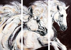 Horse Painting mold Triptych I Art Horses