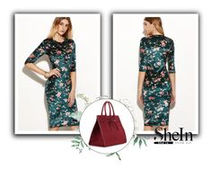 """""""shein print dress"""" by cattrina-k ❤ liked on Polyvore featuring Mansur Gavriel"""