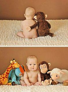 Kinderfoto mit kuscheltiere