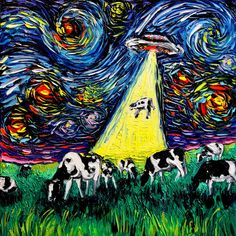 Starry Night UFO Cow Art print van Gogh Was Never Abducted by