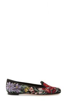 Alexander McQueen Bloemen-geborduurd Rookvrije Slipper, Zwart / Multi