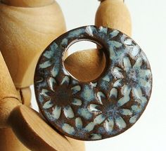 Ceramic Pendant Field of Flowers in Robins Egg Blue by Artgirl56, $12.50