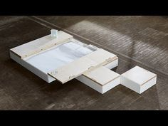 The latest video in our Dezeen x MINI Living series features a storage solution by Design Academy Eindhoven graduate Juul de Bruijn that hides furniture and belongings beneath the floorboards when not in use. Sunken Bed, Tiny House Big Living, Modular Office, Tiny House Storage, Architect Design, Wooden Boxes, Storage Solutions, Space Saving, Storage Spaces