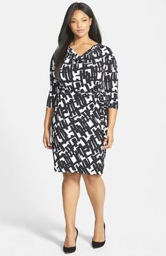 Free shipping and returns on Tahari by ASL Print Drape Waist Jersey Sheath Dress (Plus Size) at Nordstrom.com. A graphic print and graceful draping at the waist lend camouflaging flattery to a chic matte-jersey sheath. An elegantly draped neckline draws attention to your lovely face.
