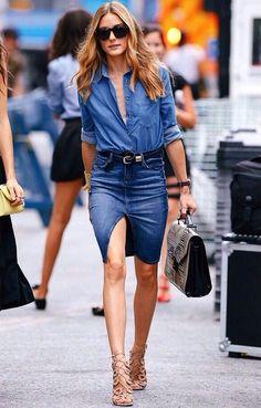 DENIM FEVER- jupe en jean, total look jean, chemise en jean, olivia palermo Denim Fashion, Fashion Mode, Look Fashion, Fashion Trends, Street Fashion, Fashion Casual, Modest Fashion, Denim On Denim, Denim Look