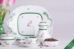 The original Vienna Rose with green rim, and the motif of Habsburg Rose. Mocca, Fine China, High Tea, Vienna, Tea Time, Tea Party, Porcelain, Pottery, Hand Painted