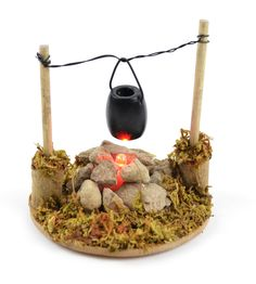 Miniature Garden Fire Pit with Cooking Pot 3.25inch and it lights up!