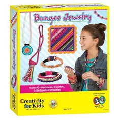 With Bungee Jewelry, you can turn a bundle of elastic bungee cord, beads and fabric bungee tape into trendy jewelry and accessories – just open the box and start creating.