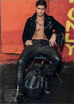 Model Charlie Matthews warms up to a penchant for leather with his latest story. Charlie appears before the lens of photographer Joseph Sinclair for Risbel magazine. Stylist Luke Funtecha pulls together a lineup of ensembles focused on leather. Embracing a bad boy image, Charlie wears leather jackets and pants for the rebellious outing. Related: Mon... [Read More]