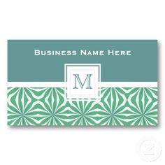 Green Print: Monogram Business Card