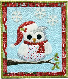 """Owl Be Home For Christmas"" by Cherry Blossoms Quilting Studio. Posted at Quilting Gallery Love this. All of a sudden I have found a new love for owls! Christmas Owls, Christmas Sewing, Christmas Crafts, Christmas Quilting, Owl Quilts, Applique Quilts, Baby Quilts, Small Quilts, Mini Quilts"