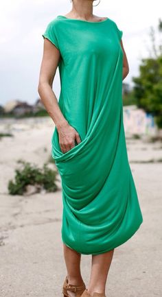 Asymmetrical Dress/Very Soft Elastic cotton by FIVELEMENT on Etsy