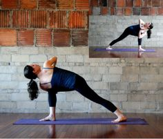 All the muscles along your spine get a big, deep stretch in Rotated Side Angle: From Quarter Dog pose, move through a vinyasa (Four-Limbed Staff to Up Dog to Standing Yoga Poses, Wanderlust Yoga, Side Angle Pose, Tight Shoulders, Yoga Music, Yoga Journal, Bikram Yoga, Yoga Sequences, Injury Prevention