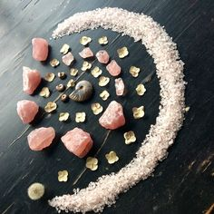 Ammonites, Rose Quartz raw and chips, dried Hydrangea Macrophylla and Dandelion Puff - with love from Woodlights Woudlicht