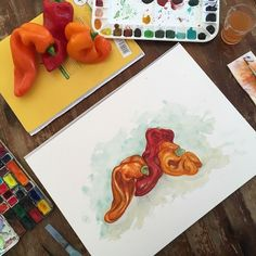 Sarah J. Loecker  : Step by Step process of twisty peppers in watercolour Bountiful Harvest, Sarah J, Stuffed Sweet Peppers, Late Summer, Colour Schemes, Botanical Illustration, Art Tutorials, Watercolour, Colorful Backgrounds