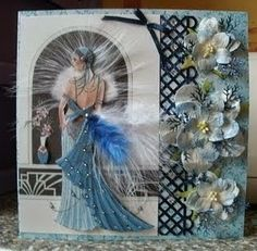art deco cards dress card craft cards birthday cards birthday wishes . Beautiful Handmade Cards, Handmade Art, Kanban Cards, Debbie Moore, Art Deco Cards, Lace Art, Dress Card, Birthday Cards For Women, Feather Art