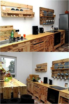 Recycled Wood Pallets Achievements : pallet cabinets and shelving for kitchen Diy Furniture Couch, Wood Pallet Furniture, Furniture Projects, Kitchen Furniture, Wood Pallets, Furniture Design, Furniture Stores, Furniture Movers, Cheap Furniture