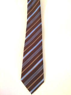 Berlioni Neck Tie Brown Powder Blue, Diagonal Striped, Classic Fit, Worn Once #Berlioni #Tie