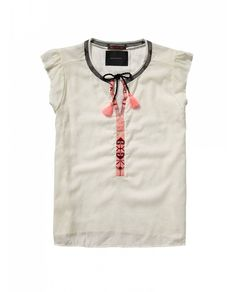 Boho top with etnic embroidery - T-shirts & Tops - Official Scotch & Soda Online Fashion & Apparel Shops