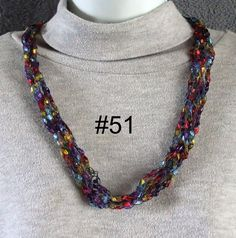 Free Trellis Yarn Necklace Patterns | Trellis Ladder Ribbon Yarn Necklace Crocheted Pick by grannyof12