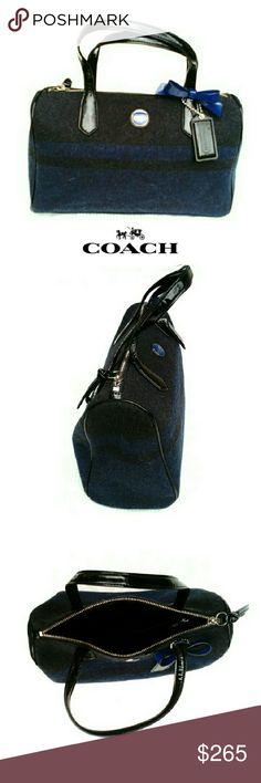 Spotted while shopping on Poshmark: 💕NEW💕COACH CHAR & BLUE SIG. STRIPE  WOOL SATCHL! #poshmark #fashion #shopping #style #Coach #Handbags