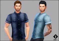 Sims 4 Updates: Jocker Sims - Clothing, Male : Lonesome Street Denim shirt, Custom Content Download!