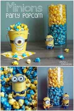 Minions Party Popcorn Recipe - this delicious flavored and colored popcorn could be made in a variety of colors for any party theme. A great party snack or dessert that both adults and kids will enjoy.