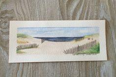 Beaches of East Hamptons - Original ARTWORK Watercolor Painting - Plein Air