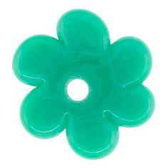 3x22mm Emerald Glass Flower Disc Bead by Susan Sheehan | Fusion Beads