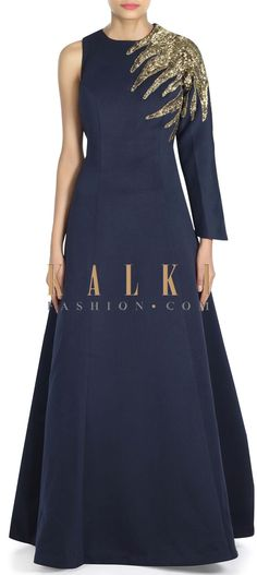 Buy this Navy blue gown adorn in sequin embroidered yoke only on Kalki