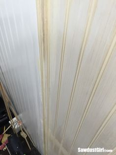 How to hide seams in Beadboard - Sawdust Girl® How To Install Beadboard, Small American Kitchens, Bead Board Walls, Shed Interior, Sawdust Girl, Makeover Tips, Remodeling Mobile Homes, Ship Lap Walls