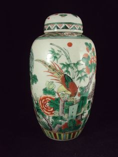 Porcelain Famille Verte vase with cover - China - 19th century ...