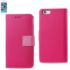 Reiko Wallet Case 3 In 1 For Iphone5S Hot Pink Interior Leather-Like Material And Polymer Cover