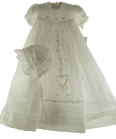 Girls Embroidered Christening Gown and Bonnet