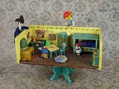 Antique German Dora Kuhn Room Box Bauernmalerei Bavarian Blue Furniture Carl Horn Doll House Miniature Bedroom Original Hand Painted Set