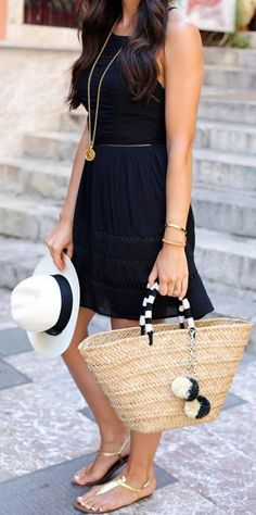 Little Black Dress + Straw Tote                                                                             Source