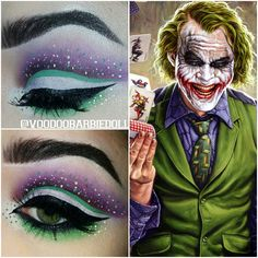 Joke Inspired Eye Makeup | IG @voodoobarbiedoll | www.youtube.com/SydneyNicoleTheCatsMeow | Cut Crease, Eye Makeup, Dramatic Makeup, Joker Makeup, Female Joker, The Joker, Villain, Batman Makeup, Green Eyeliner, Suicide Squad