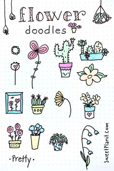 How to Draw Flower Doodles — Sweet PlanIt Simple Flower Drawing, Easy Flower Drawings, Flower Drawing Tutorials, Small Drawings, Doodle Drawings, Doodle Art, Easy Drawings, Drawing Flowers, Motif Simple