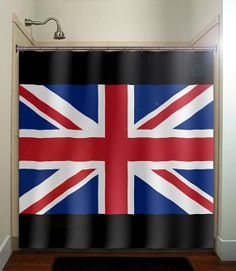 United Kingdom UK Union Jack flag shower curtain bathroom decor fabric kids bath white black custom duvet cover rug mat window