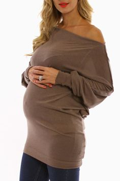 PinkBlush Maternity - Mocha Off Shoulder Long Sleeve Maternity Shirt