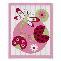Sweetie Pie Ladybug Dragonfly Nursery Wall Art Print