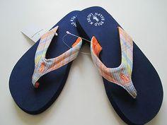 b0d8b4e69 POLO RALPH LAUREN Women Plaid Strap Flip Flop Sandal Navy Blue (  Pretty  Sandals