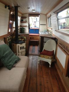 gorgeous flooring - and the STOVE! Love it! #boats #canals #narrowboats