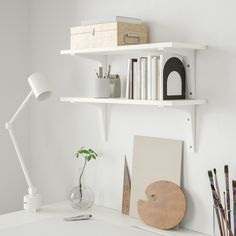 BURHULT / EKBY STÖDIS Wall shelf combination IKEA A simple and practical wall shelf that you can use for storage and as a display shelf. White Wall Shelves, Shelves In Bedroom, Floating Shelves, At Home Furniture Store, Modern Home Furniture, Furniture Layout, Cheap Furniture, Ikea Family, Bedroom Vintage