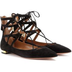 Aquazzura Belgravia Flat Suede Sandals (€485) ❤ liked on Polyvore featuring shoes, sandals, flats, black, black suede sandals, aquazzura shoes, black shoes, flat pumps and black suede shoes